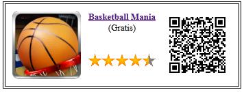Ficha de la aplicación de juego basketball mania