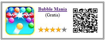 Ficha qr de aplicacion de juego Bubble Mania
