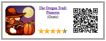 Ficha qr de aplicacion de juego the oregon trail pioneros