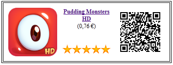 Ficha qr de aplicacion de juego Pudding Monsters HD