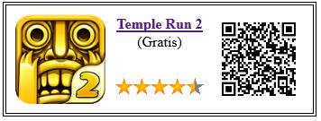 Ficha qr de aplicacion de juego Temple Run 2